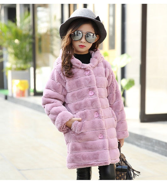 Toddler & Kids Girls Winter Thick & Warm Faux Fur Jacket