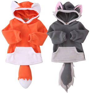 Kids Fox Pullover Hoodie with Pockets & Tail (1 year to 5 years old) - Star Kidz Clothing