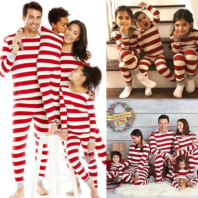 Family Matching Winter Holiday Striped Red White Outfits