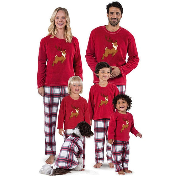 Christmas Family Pajamas Set Grid Elk Christmas Clothes Parent-child Suit Home Sleepwear Kid Dad Mom Matching Family Outfits