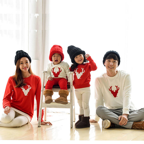 Family Matching Christmas Reindeer Longsleeve Shirts
