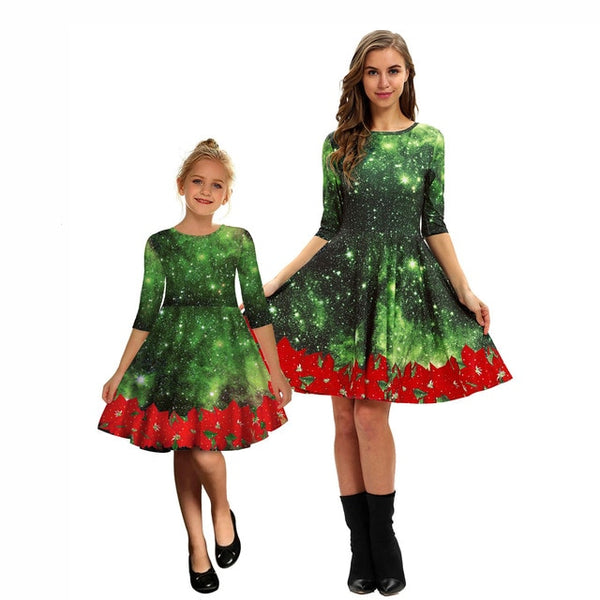 Mother Daughter Matching Christmas pattern Dresses