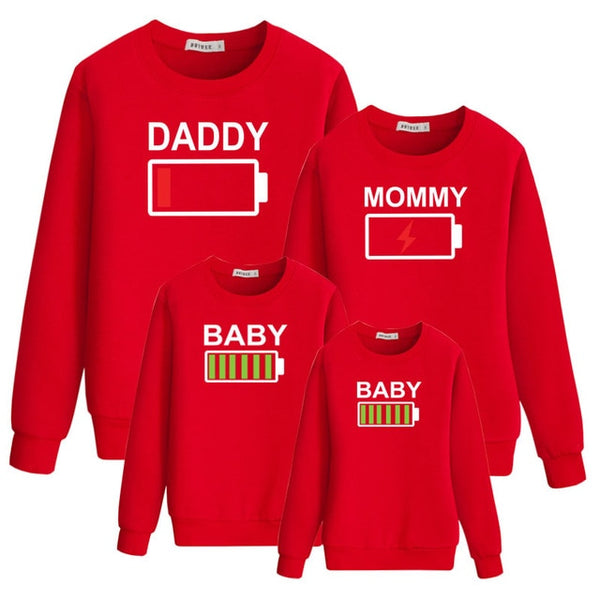 Daddy Mommy Baby battery power Matching Longsleeve shirts