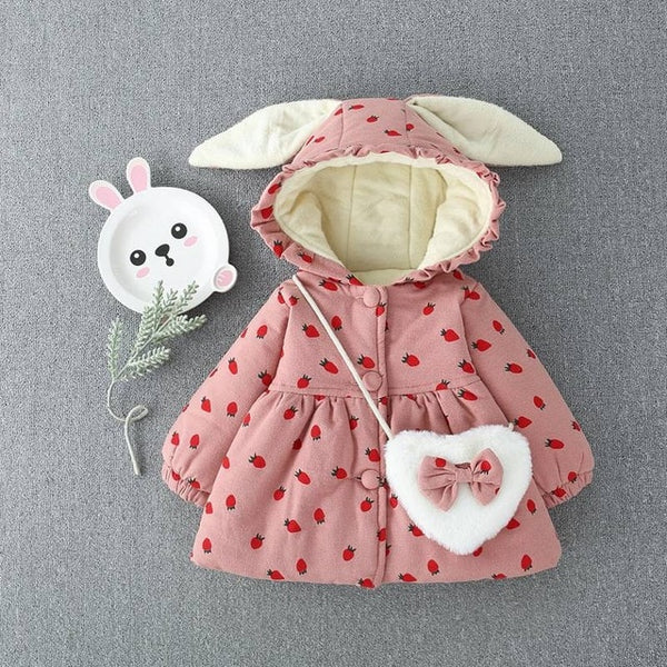 Baby Girls Rabbit Ear Thick Floral Printed Winter Parka (9m-24m)