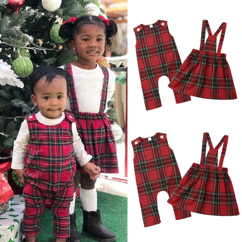 Matching Baby & Toddler Sister Daughters Romper Dress Baby Girl Plaid Outfit