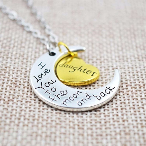 I Love You To The Moon And Back Silver Necklace Vintage Family Necklaces Pendants Fashion Women Jewelry Mom Christmas Gift - Star Kidz Clothing