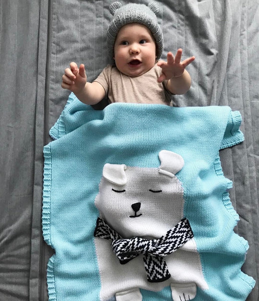 Cartoon Bear Fox Rabbit Animal Cute Baby Blanket Throws knitted Wool Blanket - Star Kidz Clothing