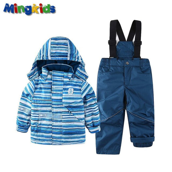Mingkids Snowsuit Boy Ski set Outdoor Winter spring autumn Warm Snow Suit hooded waterproof windproof European Size stripe - Star Kidz Clothing