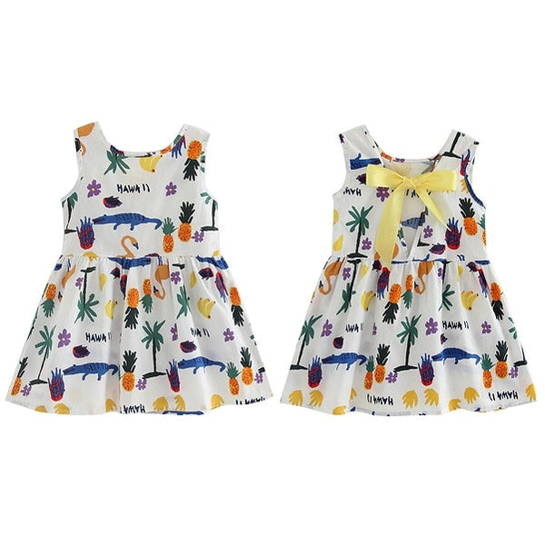 Children Dresses Kids Girl Sleeveless Flower Print Cotton and Linen floral Dress Baby Girl Spring Summer dresses for girls - Star Kidz Clothing