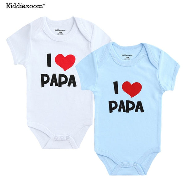 2pcs. Unisex Girls & Boys Newborn Short Sleeve I Love Papa Mama 100% Organic Cotton Romper - Star Kidz Clothing