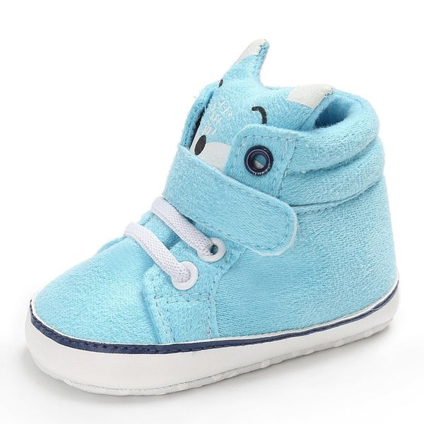 1 Pair Autumn Baby Shoes Kid Boy Girl Fox Head Lace Cotton Cloth First Walker Anti-slip Soft Sole Toddler Sneaker y13 - Star Kidz Clothing