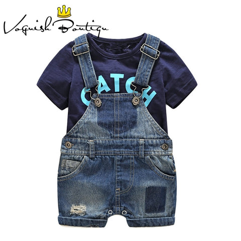 Bebes newborn clothes cotton letter printed t-shirt with demin overalls baby boys clothes summer children clothing - Star Kidz Clothing