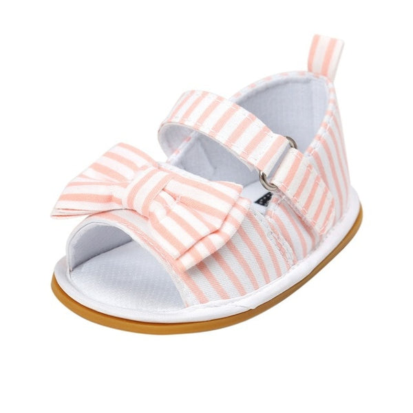 WEIXINBUY Girls Summer Cute Tartan Princess Style Bowknot Breathable Non-slip Soft Bottom Cack First Walkers 0-18M - Star Kidz Clothing