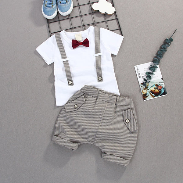 Summer Kids Boys Bow Clothes Sets Baby Gentleman High Qulity Short T shirt + Pants Toddler Boy Clothing Casual Kids Outfits Baby - Star Kidz Clothing