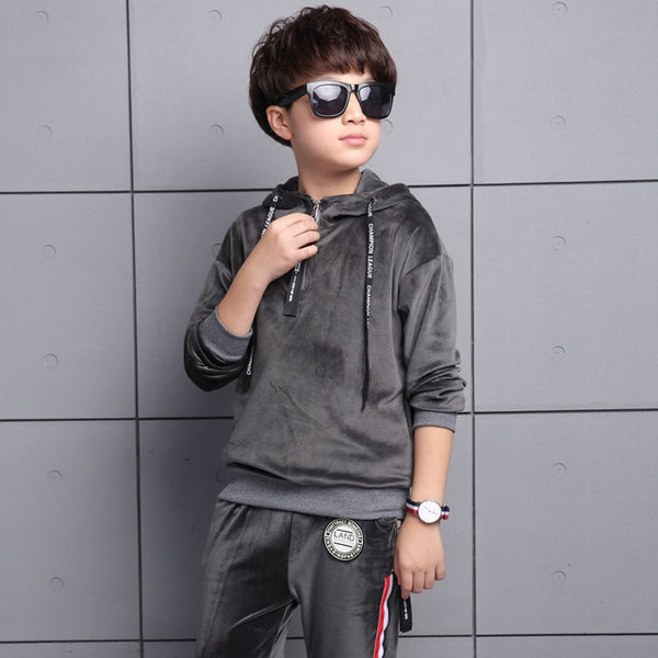 2017 Kids Sports Suit for boys Velvet Embroidery Animal Long Sleeve Shirt + Pant Set Girl Sweatsuit Autumn Children Clothing Set - Star Kidz Clothing