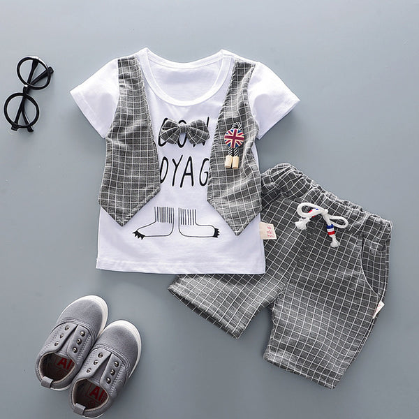 Summer Children Boys Girls Cotton Clothes Kids Bowknot T-Shirt Shorts 2pcs/Sets Toddler Fashion Clothing Sets Baby Tracksuits - Star Kidz Clothing