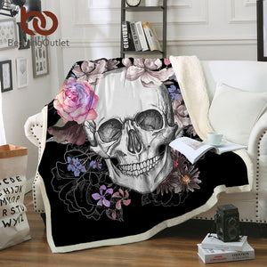 BeddingOutlet Sugar Skull Blanket for Beds Floral Roses Thin Quilt Fashionable Bedspread 130x150cm Fleece Throw Blanket - Star Kidz Clothing