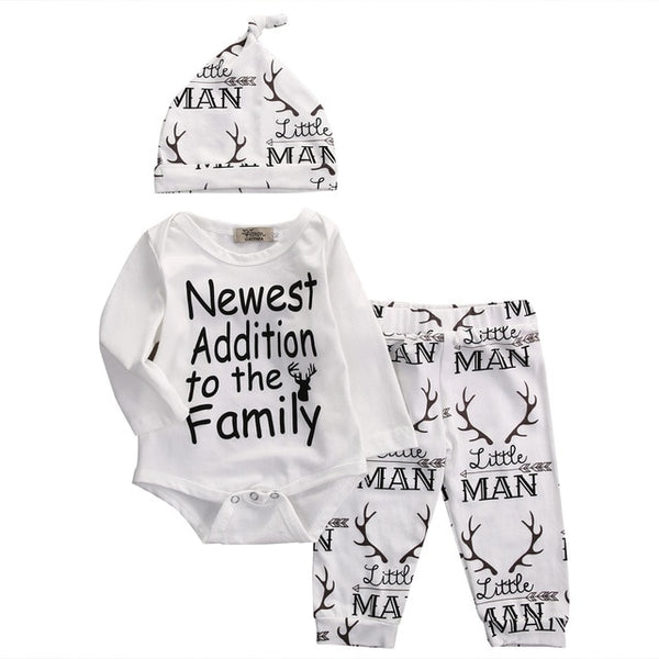 New Fasihon Newborn Infant Baby Boy Clothes Set Long Sleeve O-Neck Romper Tops Pant Hat Outfits Set NEW - Star Kidz Clothing