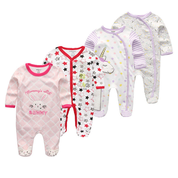 3/4/5Pcs/set Super Soft Cotton Baby Unisex Rompers Overalls Newborn Clothes Long Sleeve Roupas de bebe Infantis Boy clothing Set - Star Kidz Clothing