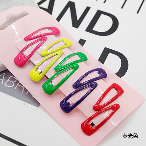 10 PCS New Lovely Cartoon Heart Type Metal Candy Color Girls Hairpins Hair Clip Kids Headwear Children Accessories Baby BB Clips - Star Kidz Clothing