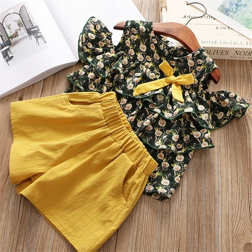 Girls Clothes Set Summer Brown Shirt & Overall 2 pcs Children Clothing Set Fashion Kids Girl Outfits Clothes Cute Sets - Star Kidz Clothing