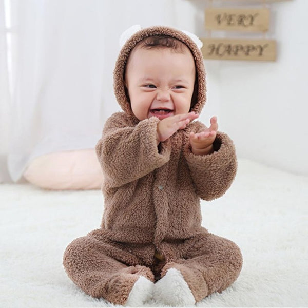 Spring Autumn Baby Clothes Flannel Baby Boy Clothes Cartoon Animal 3D Bear Ear Romper Jumpsuit Warm Newborn Infant Romper - Star Kidz Clothing