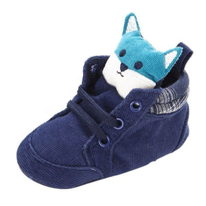 Unisex Fox Head Lace Cotton Cloth First Walker Anti-slip Soft Sole baby/Toddler Sneakers - Star Kidz Clothing