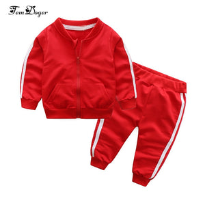 2018 autumn fashion baby girl clothes cotton long sleeve solid zipper jacket+pants 2pcs bebes tracksuit baby boy clothing set - Star Kidz Clothing