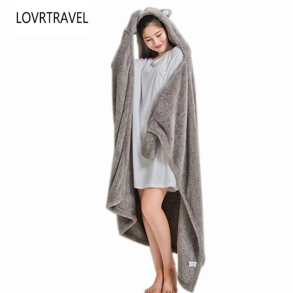 Women Hooded Warm Blankets Coral Velvet Shawl Lazy Multifunctional Office Air-conditioned Lunch Break Blanket Sofa Throw Plaid - Star Kidz Clothing
