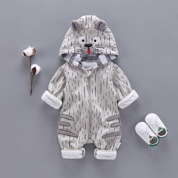 Fashion Animal Baby Romper Tiger Bebe Infant Clothing Baby Boy Girl Clothes Cute Cartoon Tiger Winter Warm Jumpsuit Costume - Star Kidz Clothing