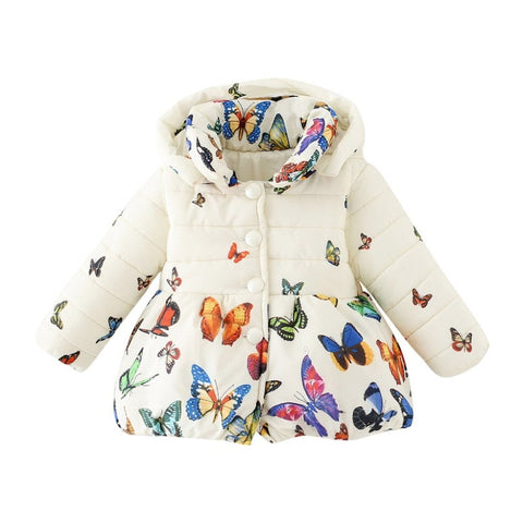 Baby Girls Thick Winter Butterfly Puffer Jacket (0-24 Months)