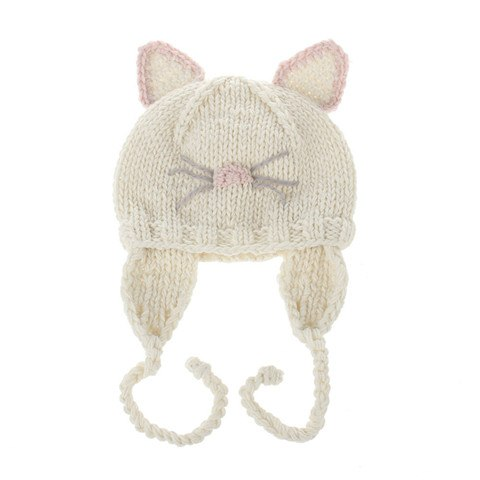 Puseky Baby Girls Cat Nose Ear Protection Braids Beanie Cap Round Knitted Crochet Hat Warm Children Kids Clothing Accessories - Star Kidz Clothing