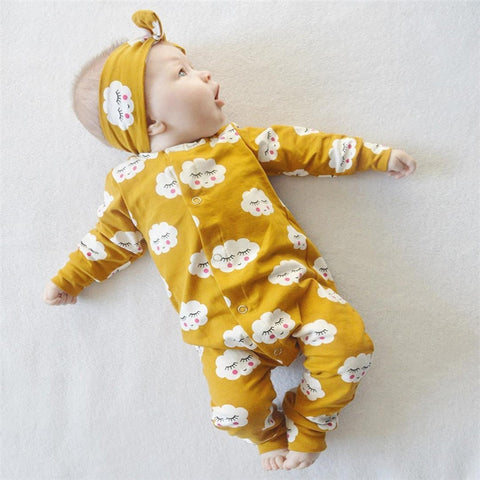 Yellow clouds 2pc baby boy or girl outfit - Star Kidz Clothing