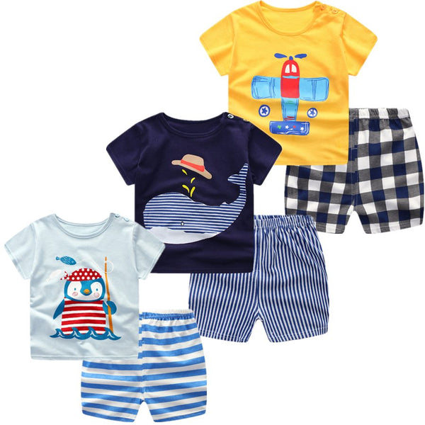 3pcs. Baby Boys Girls Clothing Set Summer Short Sleeve Cartoon Cotton Sets - Star Kidz Clothing