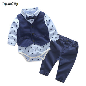 Top and Top Autumn Fashion infant clothing Baby Suit Baby Boys Clothes Gentleman Bow Tie Rompers + Vest + pants Baby Set - Star Kidz Clothing