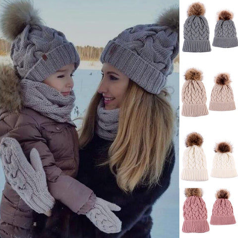 2pc Mother Daughter Matching Winter Puffball Beanies