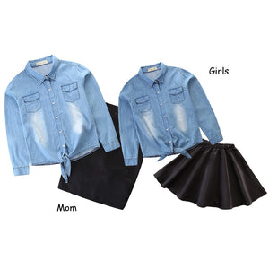 Matching Mother Daughter Denim Blouse & Skirt Outfit Set