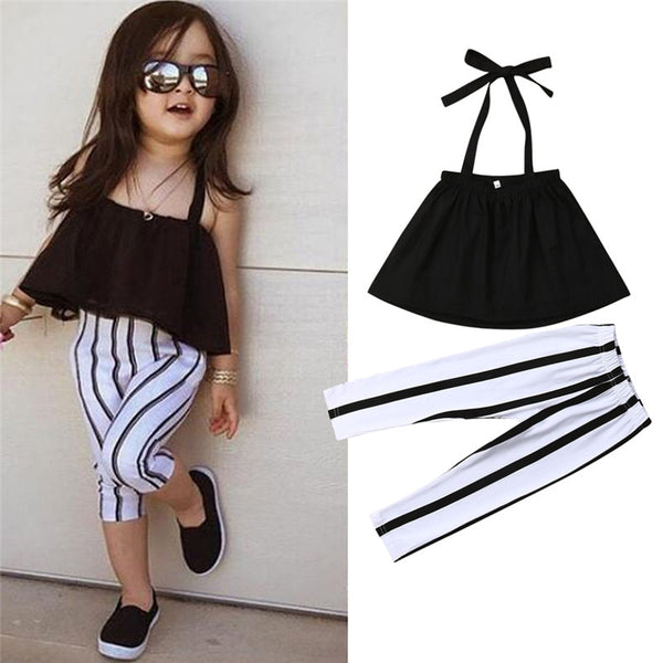 1-6Y Cute Girls Summer Clothing Kid Strap Tops+Striped Pants Leggings 2pcs Outfits Kids Fashion Clothes toddler girl clothes - Star Kidz Clothing