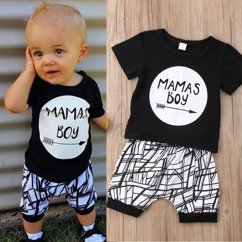 0-24M New Born Baby Clothes 2pcs Set Black Letter Print Tshirt For Boys White Stripe Pants Legging Baby Boys Clothes Newborn Set - Star Kidz Clothing