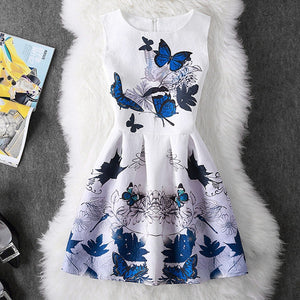 A-line Kids Dresses For Girls Clothing Print Butterflies Blue Teenager 2018 Casual Children Clothing Vestido Infantil - Star Kidz Clothing
