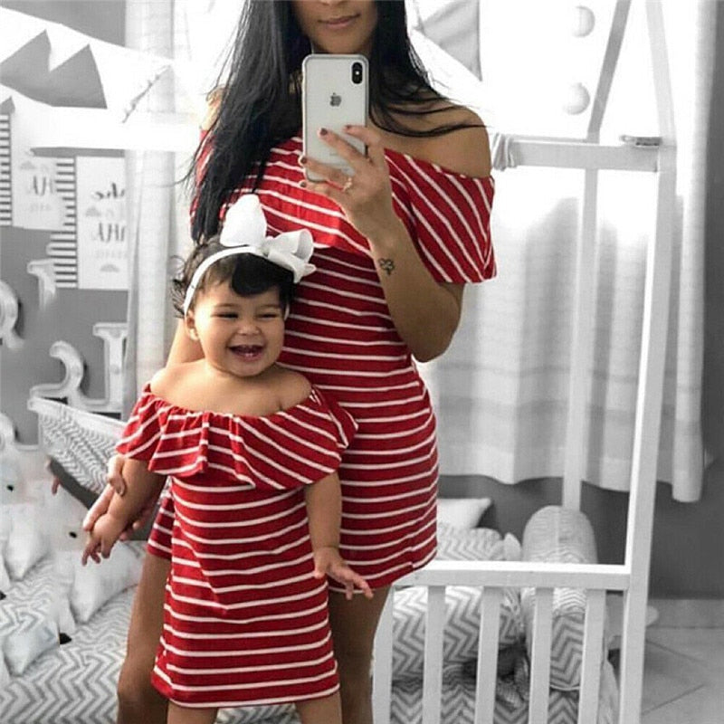Mommy and Me Mother Daughter Striped Off the Shoulder Matching Dress