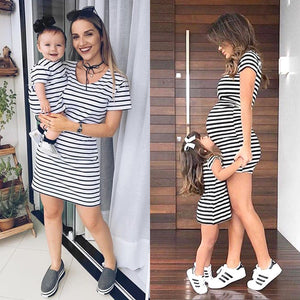Mother-Daughter Matching Womens Girl Short Sleeve Striped Mini Dress