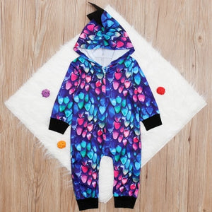 Unisex Baby Dinosaur Colorful Long Sleeve Hooded Romper - Star Kidz Clothing