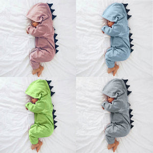 Baby Boy Girl 3D Dinosaur Costume Solid Rompers warm spring autumn cotton romper Playsuit Clothes Newborn Infant Hooded - Star Kidz Clothing