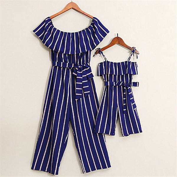 Mother-Daughter Matching Blue & White Striped Rompers