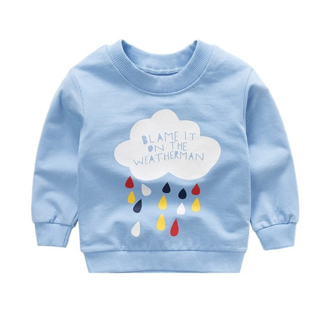 New print Pullover Tee Autumn Winter Kids Sweatshirt Tops Long Sleeve T-shirt Boys Girls Child Baby Clothes - Star Kidz Clothing