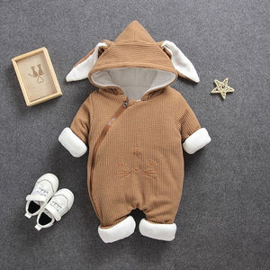 Thick Soft Organic Cotton Hooded Baby Rabbit Romper/Jumpsuit (6m-18m) - Star Kidz Clothing