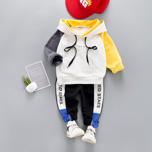 Toddler Baby Boy Casual Clothing Set Hooded Sweatshirt Long Sleeve Patchwork Kids Outfits Child Pullover Tracksuit Suits  1- 4 Y - Star Kidz Clothing