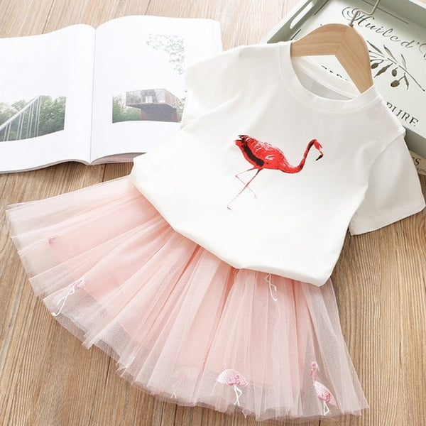 Toddler Kids Baby Girls Clothes Swan T-Shirt+Tulle Skirt 2PCS Birthday Outfits Set Kids Children Summer Unicorn Clothing Sets - Star Kidz Clothing