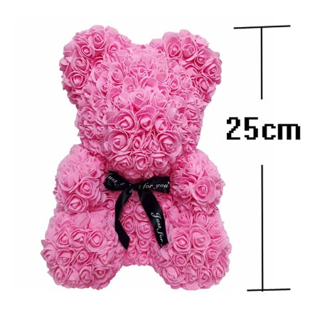 Valentines Romantic Gift box PE Rose Bear Artificial Rose Decorations Cute Cartoon Girlfriend Kid Gift Mother's day gift A - Star Kidz Clothing